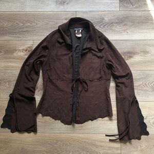 Bebe Brown Cardigan Wide Sleeve Sweater Size Small